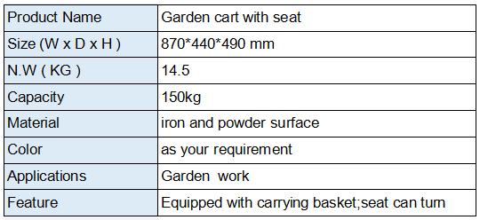 Garden rolling work seat cart